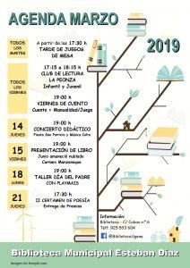 AGENDA MARZO 2017 BIBLIOTECA ESTEBAN DIAZ